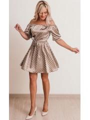 00621 Платье атласное бежевое в горох