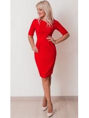 00617 Платье из фактурного трикотажа красное
