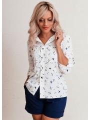 00625 Рубашка из вискозы белая с птицами