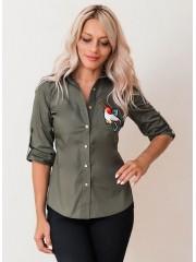 00631 Рубашка из хлопка хаки с апликацией