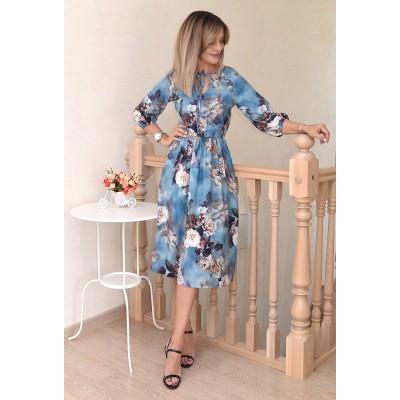 00725 Платье из вискозы голубое с принтом 3Д