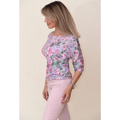 00714 Блузка из трикотажа розовая с принтом