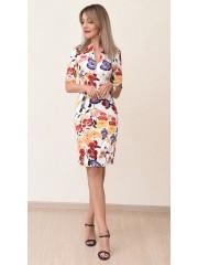 00716 Платье из эластичного хлопка принт маки
