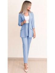 00742 Брюки с поясом голубые из костюмной ткани