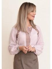 00738 Блуза из крепа пудровая с кружевом