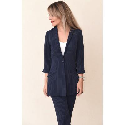 00730 Пиджак на подкладе  темно-синий в полоску из костюмного полотна