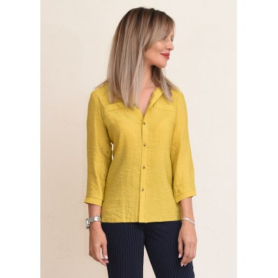 00711 Рубашка из льна горчичная