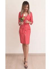00720 Платье из джинсы в горошек красное
