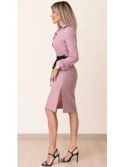 00721 Платье из крепа пудровое с пояском