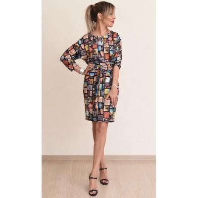 00732 Платье трикотажное с принтом