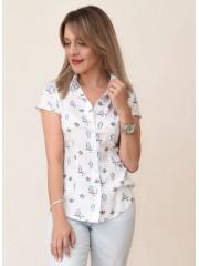 00710 Рубашка из штапеля принт совы