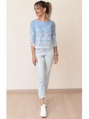 00723 Блуза из легкой джинсы с вышивкой