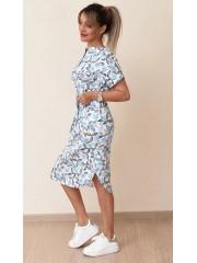 00718 Платье из эластичного хлопка белое с принтом