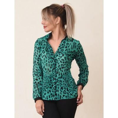 00722 Блуза из шифона зеленая леопард