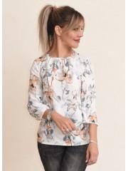 00719 Блуза из вискозы белая с принтом