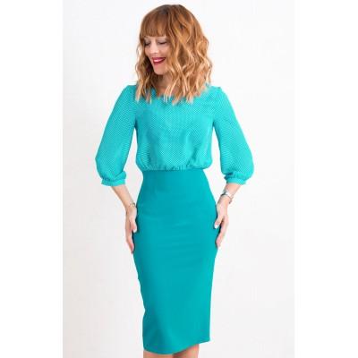 00427 Платье с шифоновым верхом бирюзовое
