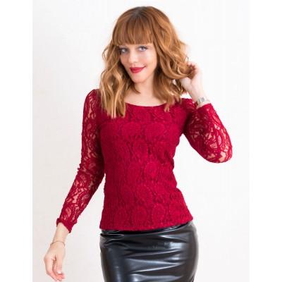 00437 Блуза кружевная на подкладке бордовая