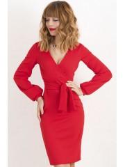 00425 Платье-футляр красное из фактурного трикотажа