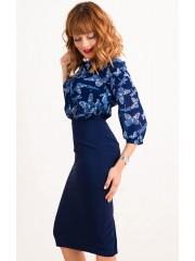 00426 Платье с шифоновым верхом, темно-синее бабочки