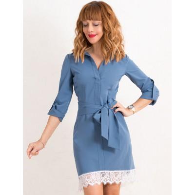 00438 Платье-рубашка голубая с французским кружевом