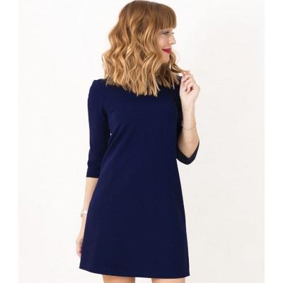 00424 Платье-трапеция из фактурного трикотажа темно-синее