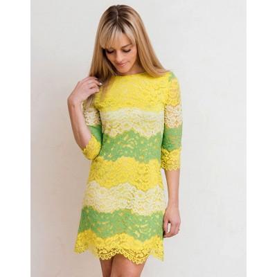00593 Платье кружевное ярко-желтое