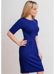 00589 Платье из фактурного трикотажа электрик