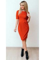 00590 Платье из фактурного трикотажа терракотовое