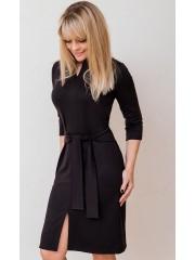 00580 Платье из лакосты темно-коричневое с поясом