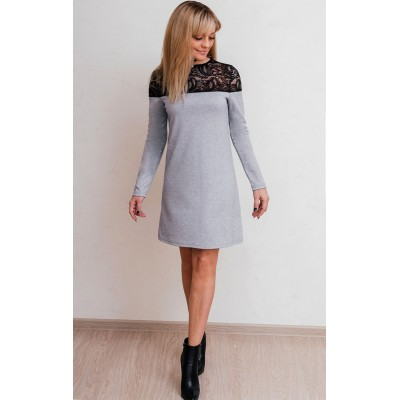 00587 Платье из лакосты серое с черным кружевом
