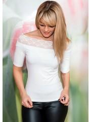 00581 Блуза трикотажная молочная с кружевом