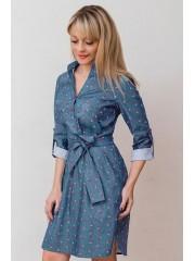 00666 Платье джинсовое голубое с вишнями