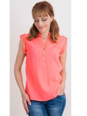00450 Блуза из крепа яркий коралл