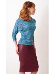 00442 Блуза бирюзовая из мягкого трикотажа меланж.