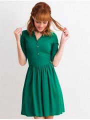 00454 Платье-рубашка из эластичного хлопка изумрудное