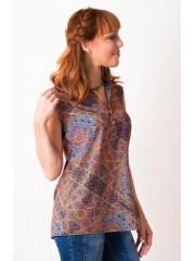 00448 Блуза из вискозы с принтом абстракция
