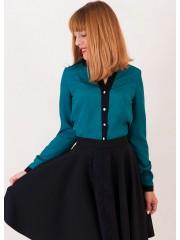 00338 Блуза изумрудная с планкой