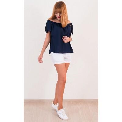 00358 Блуза из крепа синяя на завязках