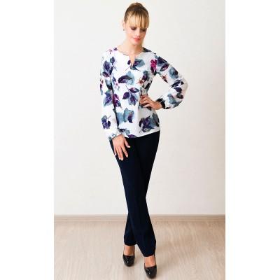 00552 Блуза из крепа белая с цветами