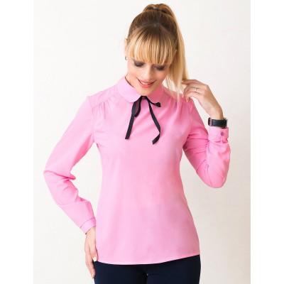 00537 Блуза из креп-шифона розовая с завязками