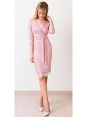 00553 Платье из Лакосты с французским кружевом пудровое