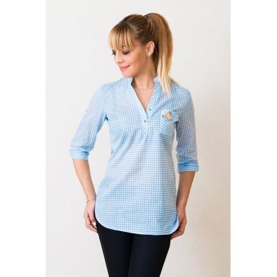 00545 Рубашка из хлопка в клетку голубая с апликацией