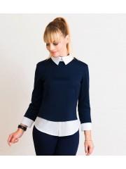 00536 Блуза трикотажная синяя с белым воротом