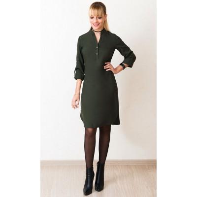 00551 Платье-рубашка с поясом цвет хаки