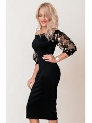 00663 Платье из эластичного трикотажа с гипюровыми рукавами