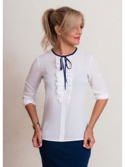 00638 Блуза из крепа белая с рюшами