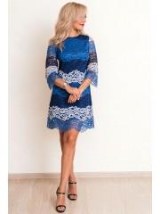 00660 Платье из кружева синее