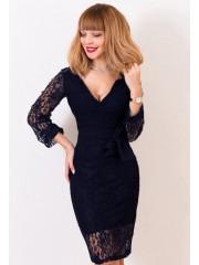 00403 Платье из эластичного гипюра темно-синее