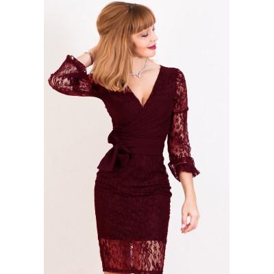 00423 Платье из эластичного гипюра бордовое