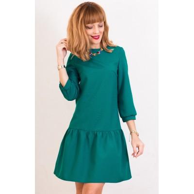 00413 Платье изумрудное с баской